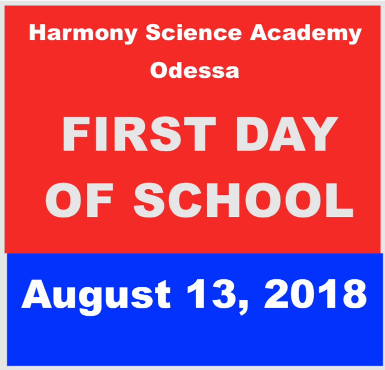 First Day of School: August 13, 2018